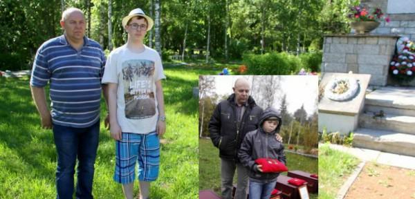 Член поискового отряда ««Otsing» Игорь Шведов с сыном Андреем. 2017 и 2012 годы.